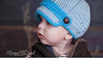 Handmade crochet newsboy baby boy or baby girl hat cap Newborn 0-3m or 3-6m size choose your colors
