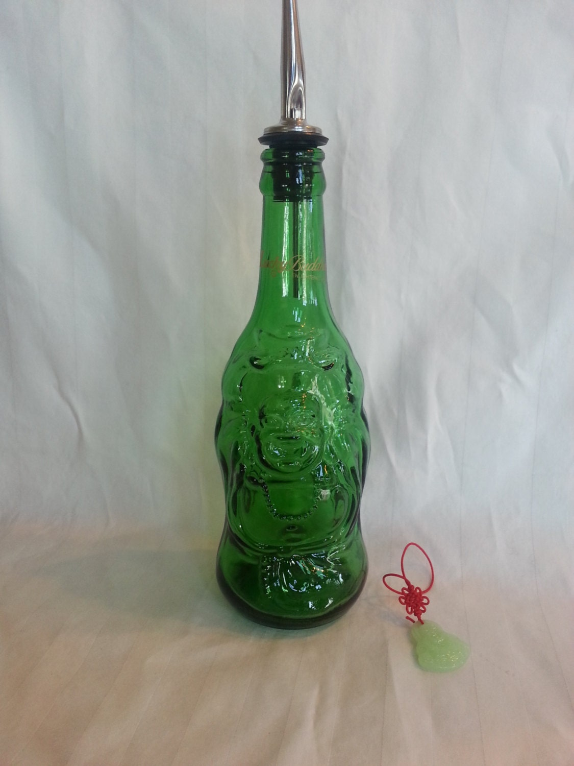 Lucky Green Buddha Dish Soap Dispenser Zen Bottle Dishsoap