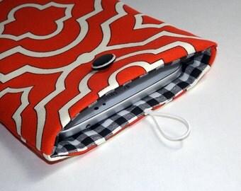 Coral, White and Black Geometric Print - Kindle, ipad Mini, Nexus 5 Sleeve