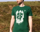 Organic Mens T-shirt hand screen printed with eco-friendly inks. Featuring Foxes on a camping adventure.