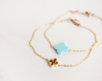 turquoise or gold clover bracelet - minimalist dainty bracelet, good luck charm jewelry - gift for her under 20