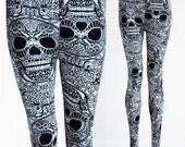 SALE Womens Black White Skull day of the dead, dia de los muertos, sugarskull leggings tights