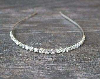 Simple Crystal Bridal Headband TARA Thin Tiara Headband Swarovski Crystal Bridal Headband, Rhinestone Tiara, Diamante Headband,Wedding Tiara