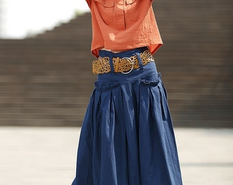 Blue Linen Maxi Skirt - Modern Contemporary Casual Everyday Spring Summer Skirt with Deep Waistband & Pockets (C364)