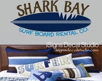 Vinyl Wall Decal - Shark Wall Decal - Shark Decal - Kids Room Decal - Surf Board Decal - Custom Shark Decal