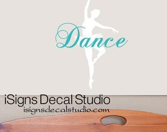 Ballet Wall Decal  -  Dance Wall Decal -  Ballet Silhouette Decal - Dancing Decal - Girls Dance Decal