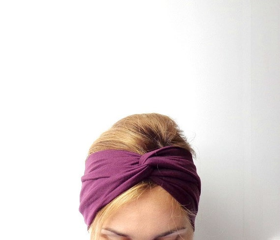 Burgundy twist headband hair turban Jersey knit twisted headband ...