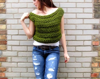 Crochet Pattern for the 80's Chic Crop Top PDF Instant Download Permission to Sell Finished Items.