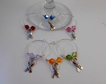 Wine Glass Charms, Cancer Awareness, Rainbow Wine Glass Charms, Cancer Ribbon Charms Wine Glass Charms, Set of 6