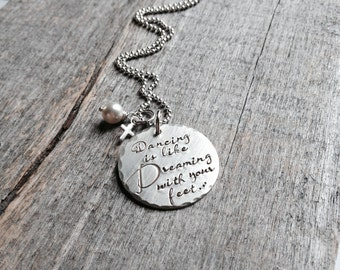 Dance Recital Gift for Dancer - Sterling Silver Dancer Necklace - Personalized Hand Stamped Dancer Jewelry