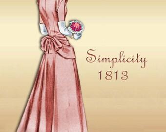 1940s Prom Gown Pattern or Short Day Dress Vintage Simplicity 1813 Drape Apron Front Back Bustle Effect Uncut 1940s Pattern