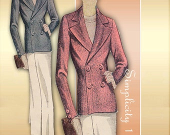 Simplicity 1799 1930s Jacket Pattern Double Breasted Tailored Jacket Bust 36 Unused Pattern Factory Folds