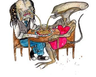 Alien Loves Predator Romantic Dinner Print, 8.5 x 11 inch inkjet print art painting Valentine's Day