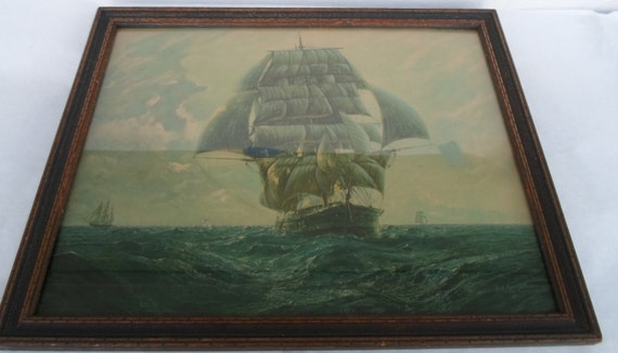 Vintage G G Reynaud Nautical Clipper Ship Print Framed
