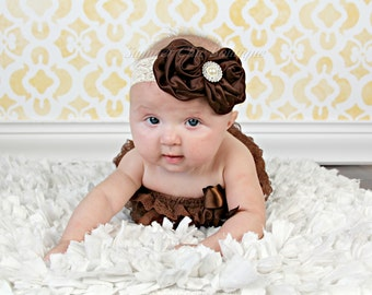 Brown Baby Headband, Baby Headband, Infant Headband, Toddler Headband, Girls Headband, Fall Headband, Brown Satin on Lace