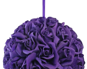 Garden Rose Kissing Ball - Purple - 10 Inch Pomander Extra Large