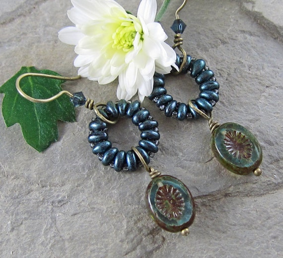 Montana Blue Earrings with Beadwork Hoops and Swarovski Crystals Handmade. OOAK