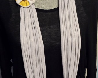Light Gray T shirt Scarf with Yellow Flower Brooch, T-shirt Scarf, T shirt Necklace, Recycled Tshirt