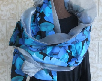 Handmade long Ruffle Wrap Scarf. Double layer of cotton fabric, beautiful blues and double layer of grey Organza fabric and handmade flowers