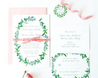 Printable Wedding Invitation - DIY - Watercolour Wreath