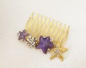 Beach Wedding hair accessories, SALE,Starfish hair comb, beach wedding comb, navy purple violet gold blue hair accessories Bridal headpiece