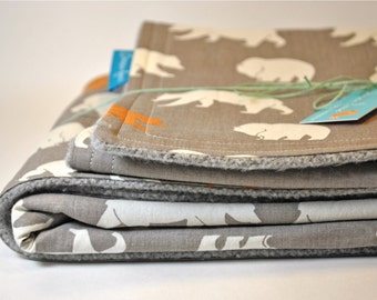 Organic Baby Blanket in Bear Camp, Grey and Orange Bears