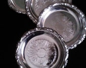 Vintage Silverplated Coasters/ Set of 4/1988/ Anniversary or Wedding Gift