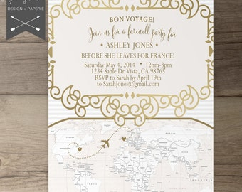vintage french party invitations going away party goodbye party invites moving announcements - Goodbye Party Invitation