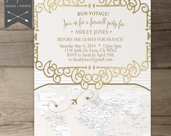 vintage french party invitations going away party goodbye party invites moving announcements - Going Away Party Invite