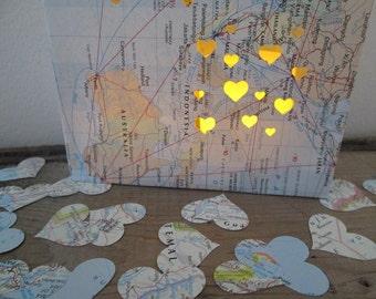 800 Map Confetti, Heart Confetti, Maps, Travel Wedding Decor, Travel Decor, Map Hearts, Heart Confetti