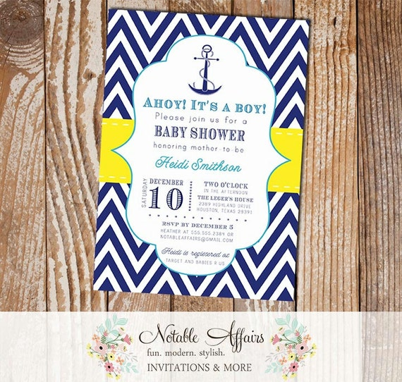 Anchor nautical sailing navy yellow white and blue baby shower or