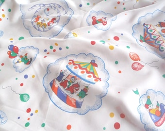 """42"""" Vintage Clown Nursery Fabric for Patchwork Quilting Pillow juvenile"""