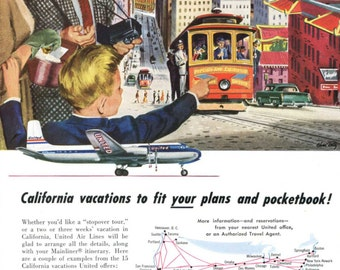 San Francisco Theme Vintage United Airlines Ad 1950's Family Vacation Streetcar