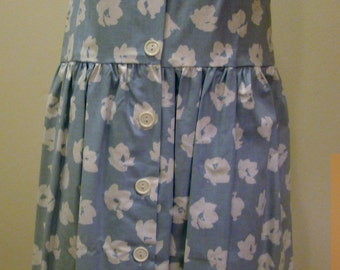 Girls Jumper/Sun Dress in Light Blue with Large White Flowers - Size  10