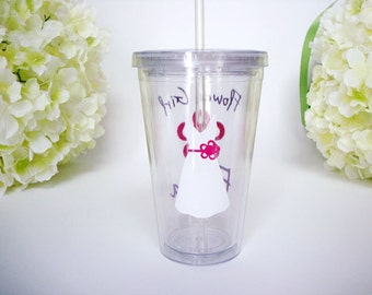 Personalized Flower Girl Tumbler with Lid and Straw - Flower Girl Gift