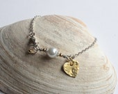 Chic And Preppy Soft Pearl Heart Initial Hand Stamped Bracelet- Personalized, Romantic, Graduation gift, Gift For Her, Wedding