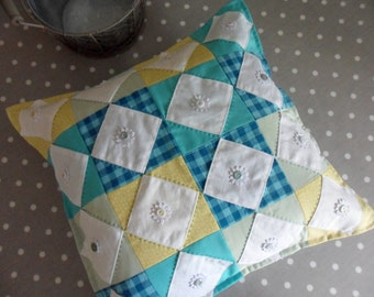 Yellow and Turquoise Patchwork Cushion Cover