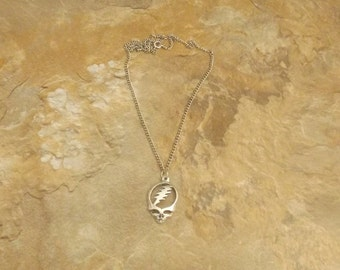 Pewter Grateful Dead Charm on a Link Chain Necklace- 5204