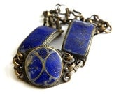 Blue Lapis Lazuli Bracelet Tribal Brass Chain Jewelry Inlaid Stone Antique Collectible Bracelet