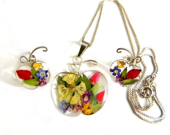 Italy Sterling Pressed Flower Apple Set Necklace Earrings Vintage Italian Jewelry Collectible 925 Sterling Flower Apple 1970s Flower Power