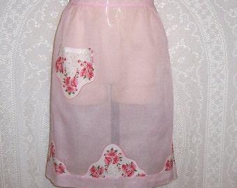 Vintage Half  Apron - hostess apron- hankie apron- mid century- pink organza- hand stitched- DISCOUNTfor MULTIPLE apron PURCHASE (apron #40)
