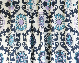 teal navy curtains etsy