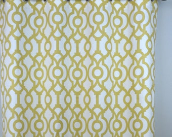 Saffron Pale Yellow White Lyon Quatrefoil Morrocan Curtains - Grommet - 84 96 108 or 120 Long by 25 or 50 Wide - Optional Blackout Lining