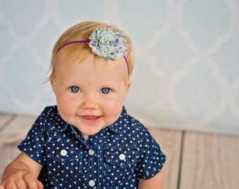 Baby Headband. Purple Vintage Headband. Floral Shabby Headband, Photography Headband