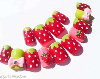 Strawberry Nails, Fake Nails, Kawaii Nails, 3D Nails, False Nails, Press on, Nails, Cute, Bow, Strawberries, Sweet Lolita