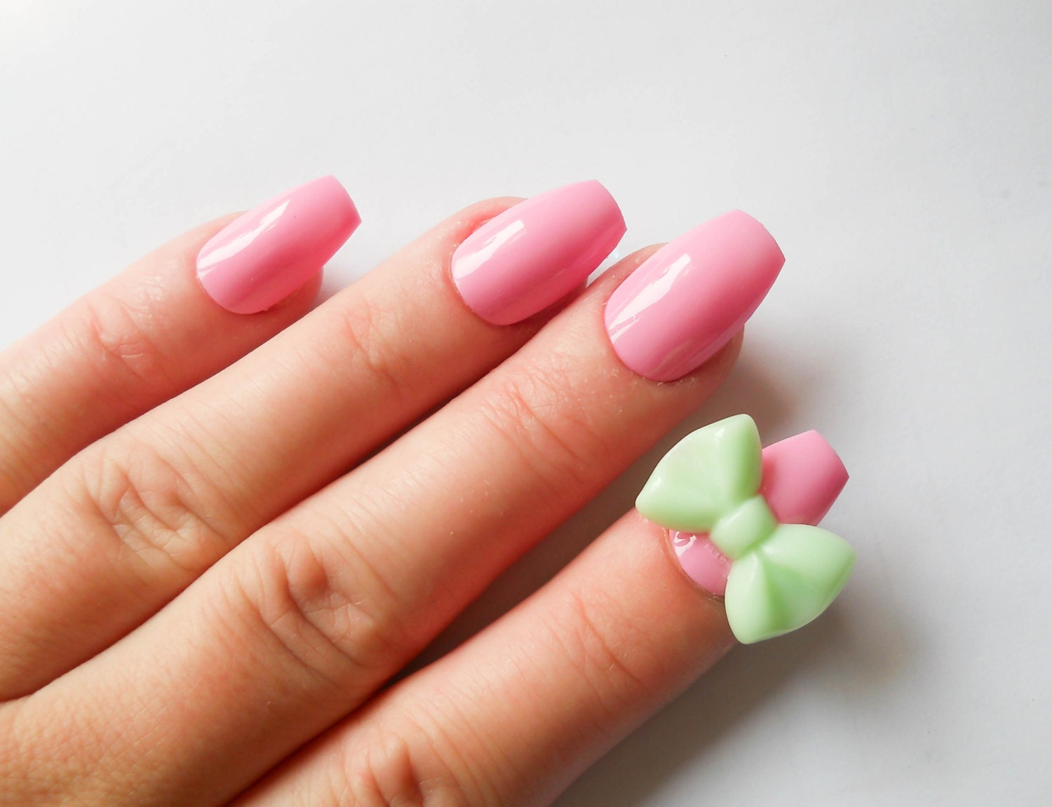 pink fake nails 3d nails false nails acrylic nails bow