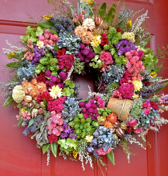 Elegant Dried Flower Wreath/ Spring Wreath/ Floral Wreath/