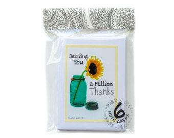 Sunflower Thanks: 6 Notecards