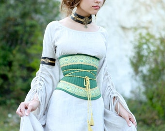 "Medieval Renaissance Linen Corset Belt ""Mistress of The Hills"""