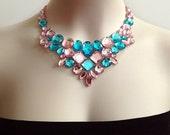light pink and aquamarine rhinestone handmade necklace, bridesmaids, prom, wedding, party necklace